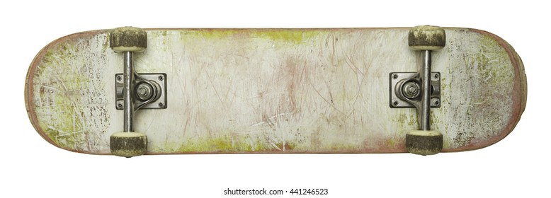 Bottom of Used Skate Board with Copy Space Isolated on White Background.