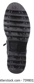 Bottom view of black leather female (girl) insulated demi season boot with metal zipper, isolated on white