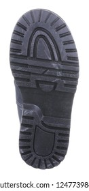 Bottom view of black sole with Thomas heel of dark blue suede water resistant winter insulated male high boot with velcro clasps and artificial fur insulation, isolated on white