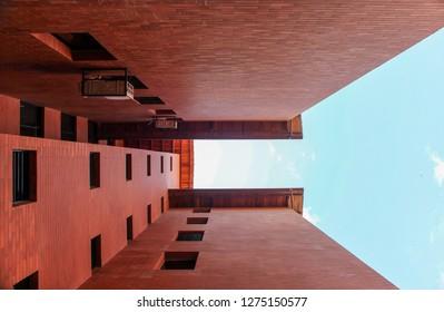 bottom view of brick building
