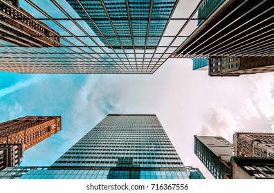 Bottom view of business buildings skyscrapers in New York