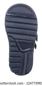 Bottom view of dark blue sole with Thomas heel of dark blue suede water resistant winter insulated male high boot with velcro clasps and artificial fur insulation, isolated on white