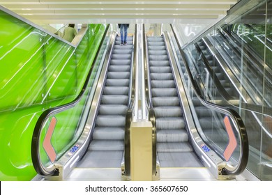 Bottom view of escalators, green color combination. panoramic angle of escalator detail.