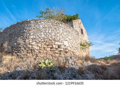 Bottom view of the fortress on the hill near the town of Skradin, Croatia