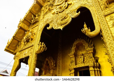 Bottom view of a golden church of buddhist temple at Wat Sri Pan Ton or Sri Pan Ton temple. An ancient temple Lanna style architecture at Nan province, Thailand.