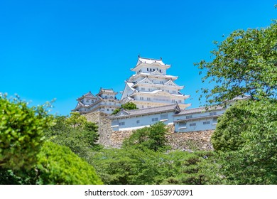 Bottom view of Himeji Castle over tree tops, the white Heron castle in Japan