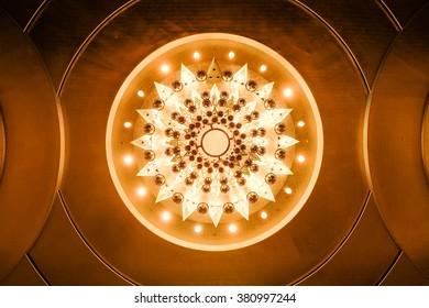 Bottom view of illuminated chandelier
