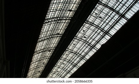 A bottom view of a Keleti railway station ceiling in Budapest, Hungary