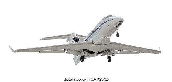 Bottom view of a light business jet isolated on white background with clipping path