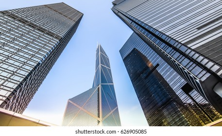 Bottom view of modern skyscrapers in business district.