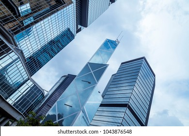 Bottom view of office building window close up in hongkong city