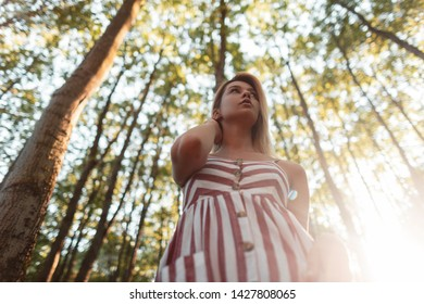 Bottom view on a beautiful young blonde woman in a stylish pink striped sundress in the forest among the green trees on a bright sunny summer day. Attractive girl relaxes in nature and enjoys the sun.
