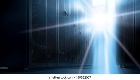 Bottom view of rack server against neon light in data center with dept of field