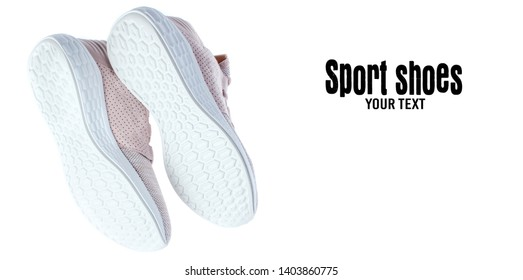 Bottom view of sports shoes. running shoe sole isolated on white background. Copy space