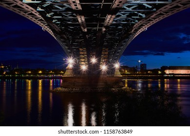 bottom view of the theodor-heuss bridge in mainz with view to the city of mainz, color photo, horizontal