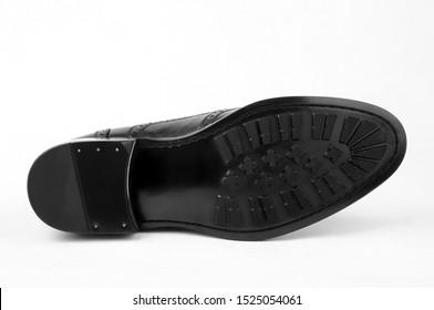 Bottom white figure of men's leather shoes