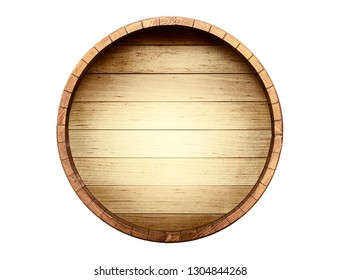 The bottom of a wine barrel on a white background, included clipping path
