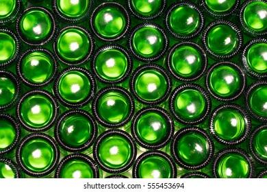 Bottoms of empty glass bottles
