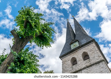 Bottom-up shot of church (bell) tower and a tree in sunshine against the blue partially clowded sky