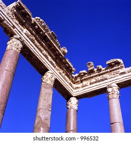 Bottom-up view of columns at Heliopolis (Baalbeck) in Northern Lebanon (early 1st-mid 3rd C. AD).
