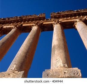 Bottom-up view of columns at the Roman temple of Jupiter Heliopolitanus at Heliopolis (Lebanon)