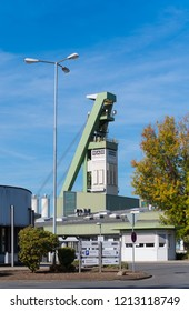 BOTTROP, GERMANY - AUGUST 29, 2018: Tower of Bergwerk Prosper-Haniel, one of the last coal mines of the country