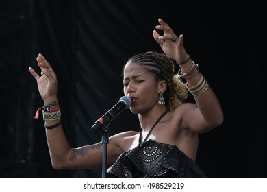 Bouckaert Farms, Chattahoochee Hills, Fairburn, Georgia, US - Oct 2,2016: Poet Aja Monet at Inaugural â??Many Rivers To Crossâ?�â?? the largest Music and Arts Festival dedicated to racial and social justice