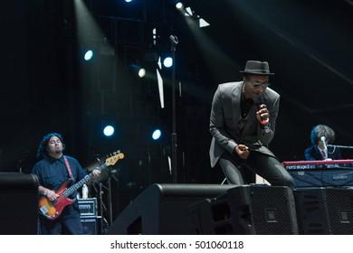 Bouckaert Farms, Chattahoochee Hills, Fairburn, Georgia, US - Oct 2, 2016: Aloe Blacc sings at Many Rivers to Cross Music Festival.