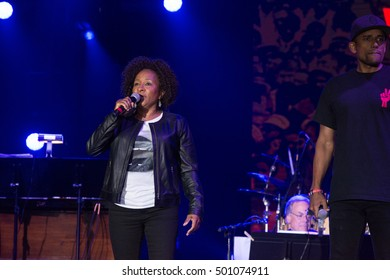 Bouckaert Farms, Chattahoochee Hills, Fairburn, Georgia, US - Oct 2,2016: Wanda Sykes speaks at Many Rivers to Cross Music Festival. Hill Harper in background.