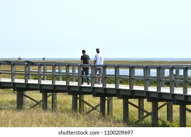 Bouctouche, New Brunswick / Canada:   September 24 2017:  People Enjoying the Irving Eco-centre at la Dune de Bouctouche
