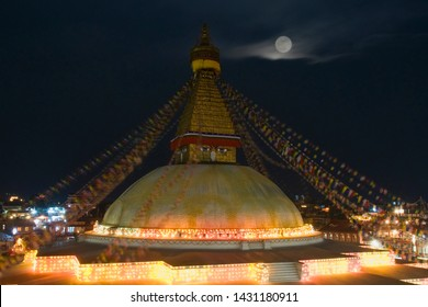 Boudha Stupa This was the picture before devastating earthquake.one of the largest spherical stupas in Nepal. Designated as world heritage side. This is double exposure picture.