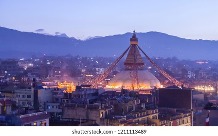 boudhanath stupa before earthquake , Nepal.Kathmandu , the capital city of Nepal in early morning twilight blue sky,This photo was taken before Nepal great earthquake 2015.