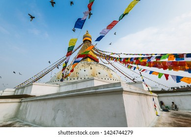 Boudhanath stupa, Kathmandu, Nepal - April 2019, people was doing the morning meditation beside the Boudhanath stupa. This is normal activity of Nepal people you can see here everyday