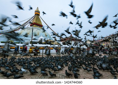 Boudhanath stupa, Kathmandu, Nepal - April 2019, people is feeding the pigeons in front of the stupa in every morning