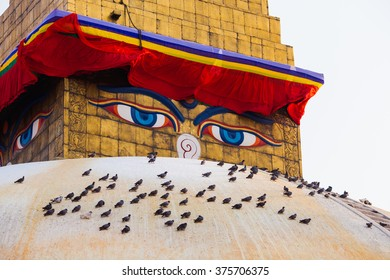Boudhanath stupa in Kathmandu, Nepal in April 2014 (before the earthquake). Boudhanath stupa is one of the largest ancient stupa in the world