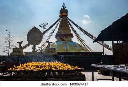 Boudhanath is a stupa in Kathmandu, Nepal. Located about 11 km from the center and northeastern outskirts of Kathmandu, the stupa's massive mandala makes it one of the largest spherical stupas in Nepa