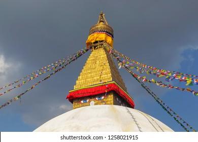 Boudhanath Stupa located in Kathmandu, Nepal. It aslo the world heritage site of UNESCO.This photo was shot 2 weeks before huge earthquake.