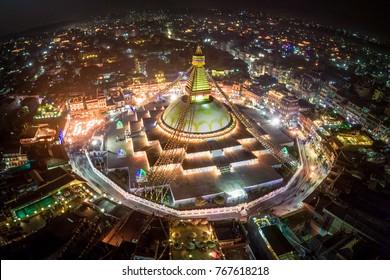 Boudhanath Stupa. Night photo. Nepal. Kathmandu. The festival of fire. Night shot from the air.