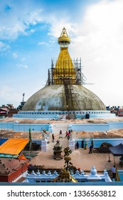 Boudhanath stupa, one of the biggest in Kathmandu city, Nepal and also one of the largest stupas in the world. Under reconstruction after an earthquake. Boudha Stupa is a UNESCO World Heritage Site.