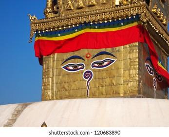 Boudhanath stupa Swayambunath Temple in Kathmandu, Nepal