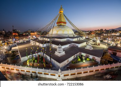 BOUDHANATH STUPA,KATHMANDU,NEPAL - APRIL 9 : Boudhanath Stupa  during twilight time on April 9,2017 in Boudhanath Stupa, Kathmandu, Nepal