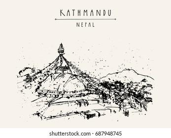 Boudhnath, Boudha. Tibetan temple in Kathmandu, Nepal, Asia. Travel sketch. Buddhist pilgrimage site. Sacred Buddhist place. Vintage hand drawn touristic postcard, poster, book illustration