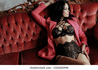 Boudoir. Woman in lingerie at home