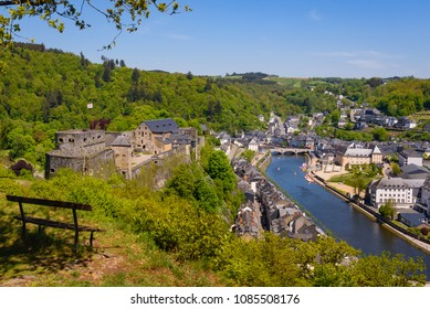 Bouillon town with castle, Wallonia, Belgium. Panorama viewpoint with view on historical town Bouillon with fortress or castle on riverside of river Semois. Luxembourg, Ardennes, Belgium.