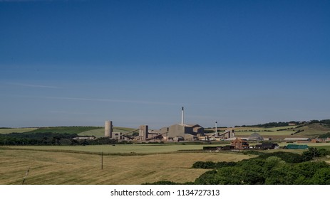 Boulby potash mine set within a rural landscape. Located in the north east of England.