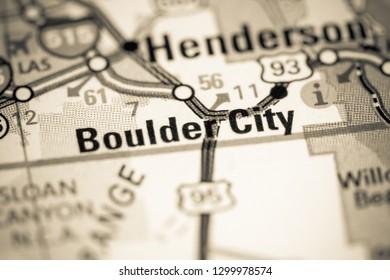Boulder City. Nevada. USA on a map