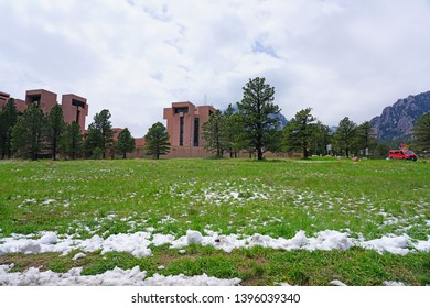 BOULDER, CO -10 MAY 2019- View of the National Center for Atmospheric Research (NCAR) Mesa Laboratory, a landmark building designed by I. M. Pei located in Boulder, Colorado.