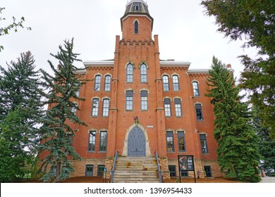 BOULDER, CO -10 MAY 2019- View of the Old Main building on the college campus of the University of Colorado Boulder (CU Boulder), a flagship public research university in Colorado.