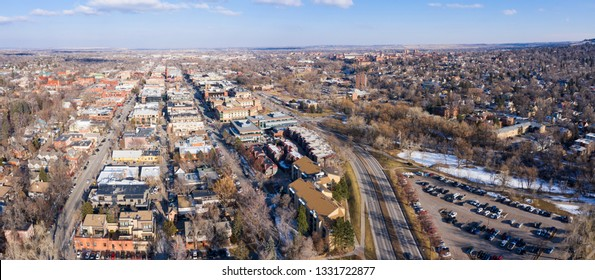 Boulder CO Aerial Panorama Downtown University District