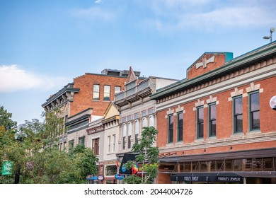 Boulder, CO - August 28, 2021: Typical architecture on the Pearl Street Mall, a famous downtown area, with brick buildings and rustic, western style.